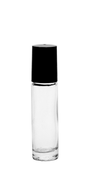Clear Glass 10ML Roll-on Bottle With Black Cap
