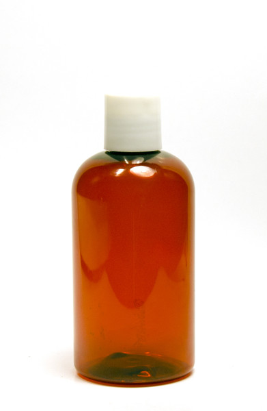 240ml (8oz.) Amber PET Plastic Boston Round Bottle with White Dispenser Cap