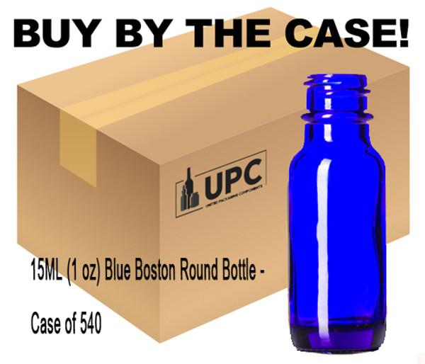 Case of 540 15ML (0.5 oz) Blue Boston Round Bottle