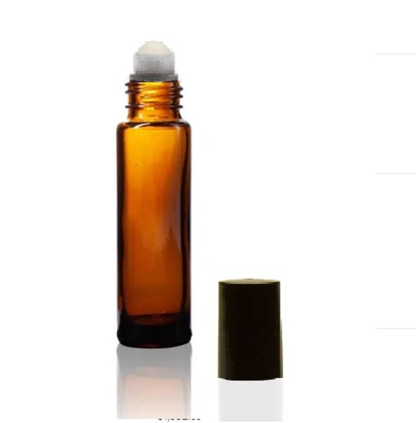 10ML amber Roll-on Bottle w/ Roller Ball, Insert & Black Cap