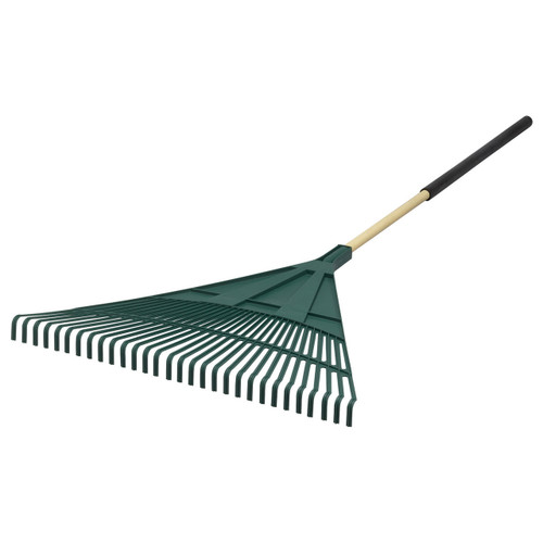 "30"" Flat-Front Poly Leaf Rake with Cushion Grip"