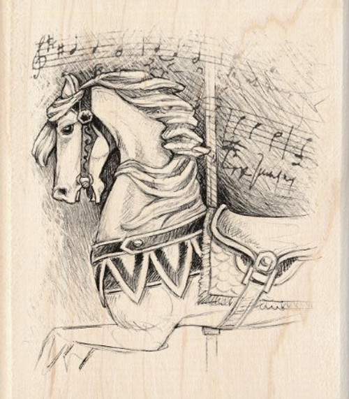 Carousel Horse Wood Handle Rubber Stamp by Inkadinkado