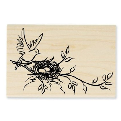 Stampendous Nesting Bird Rubber Stamp Wood Handle