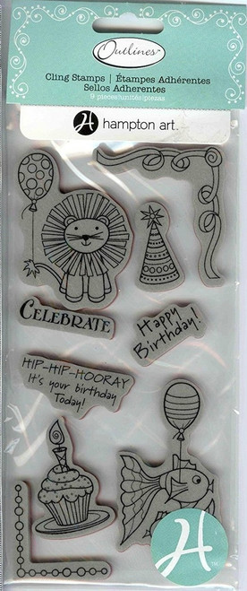 Outlines Birthday Rubber Cling Stamps by Hampton Art