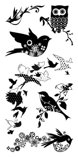 Birds Galore Clear Cling Stamps by Inkadinkado