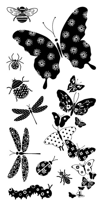 Patterned Bugs Clear Cling Stamp Set by Inkadinkado