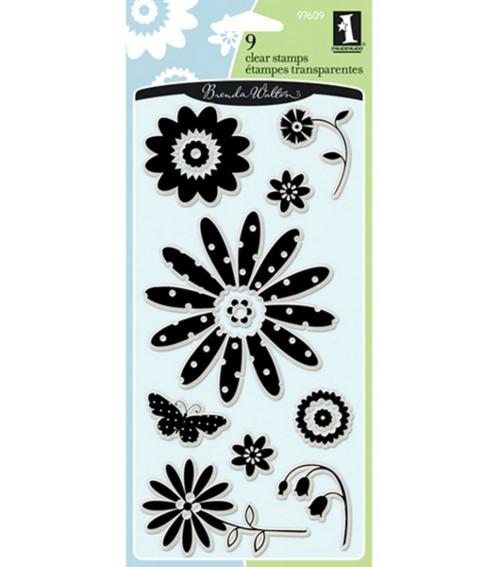 Brenda Walton Pretty Flowers Clear Cling Stamps by Inkadinkado