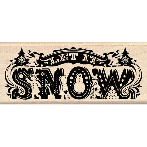 Let It Snow Winter Wood Rubber Stamp by Inkadinkado