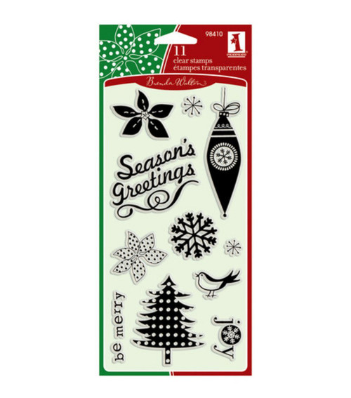 Peppermint Twist Christmas Clear Cling Stamps by Inkadinkado