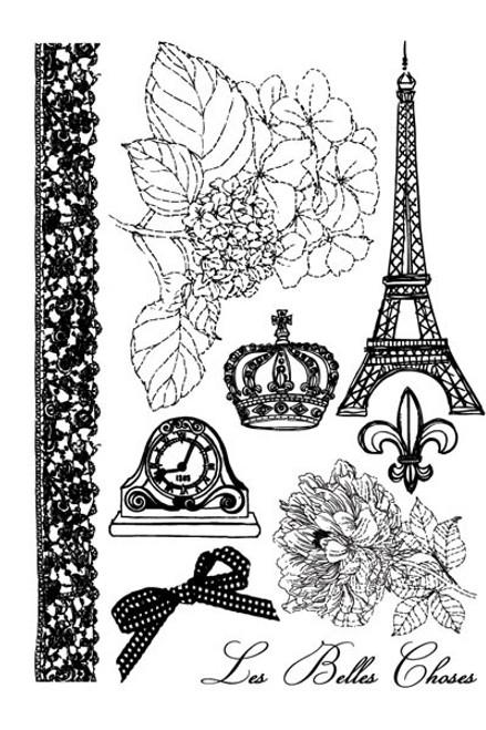 En Francais Rubber Cling Stamp Set by Prima