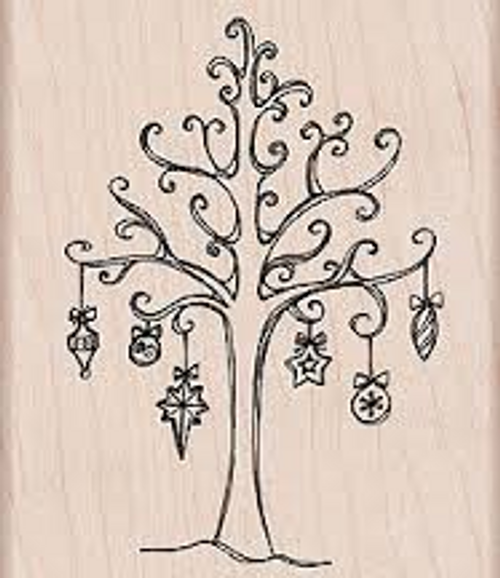 Tree with Ornaments Christmas Wood Mount Rubber Stamp by Hero Arts