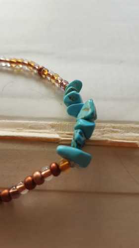 Red Natural Coral /& Blue Magnesite Turquoise Stretch Bracelet