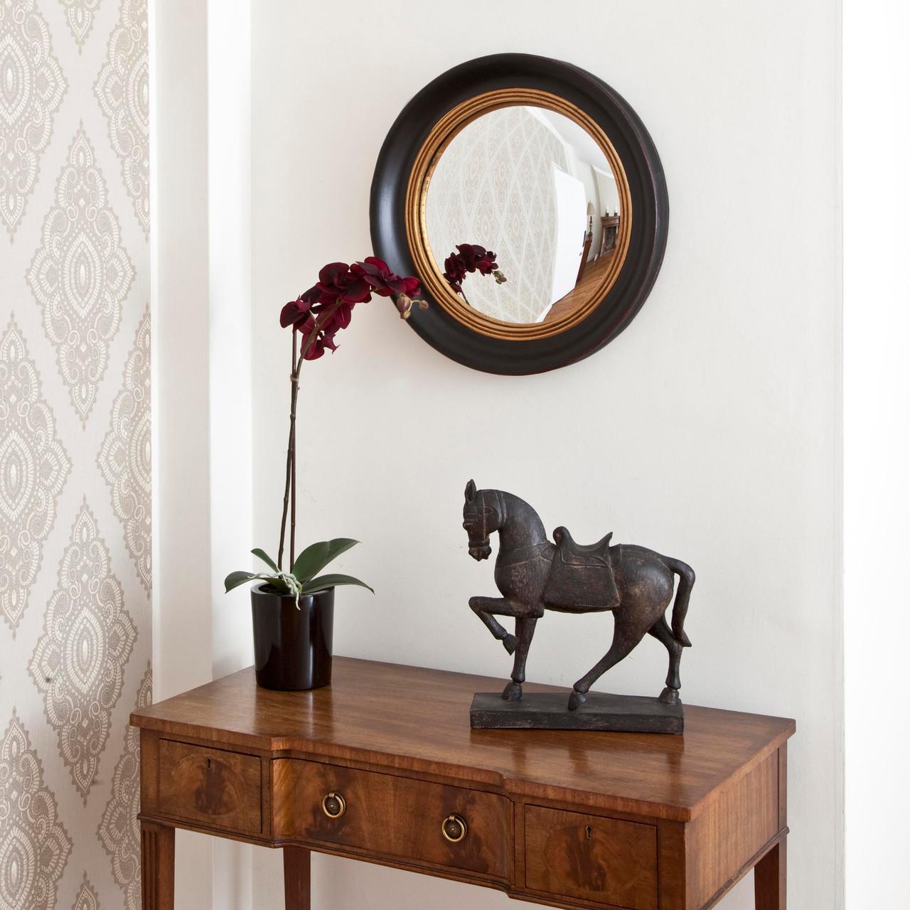 Image of Beatrice Black Gold Round Mirror