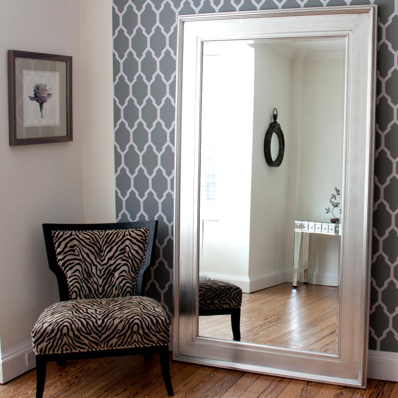 Image of Black Silver Wide Framed Dressing Mirror