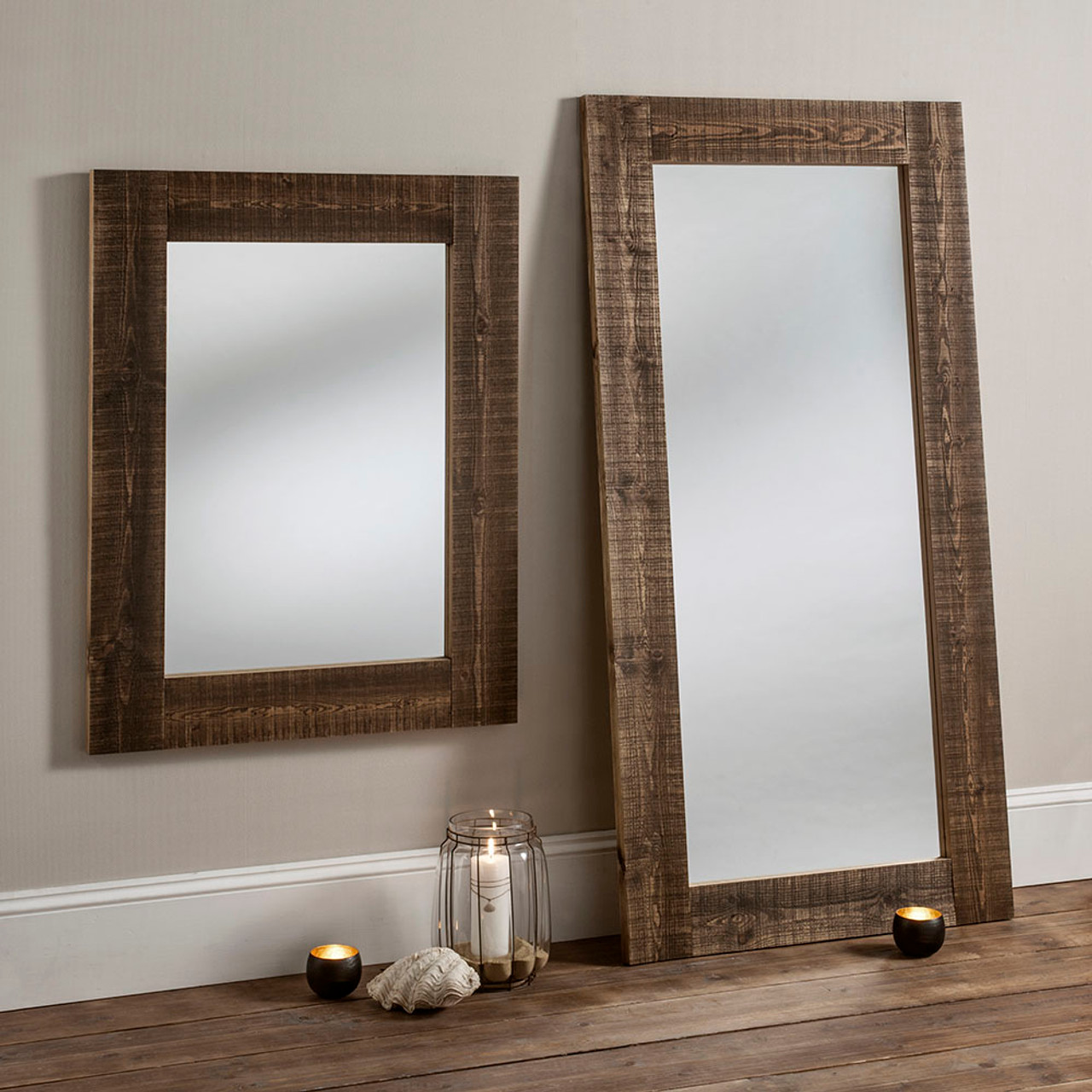 Image of Brown Rustic Wooden Mirror