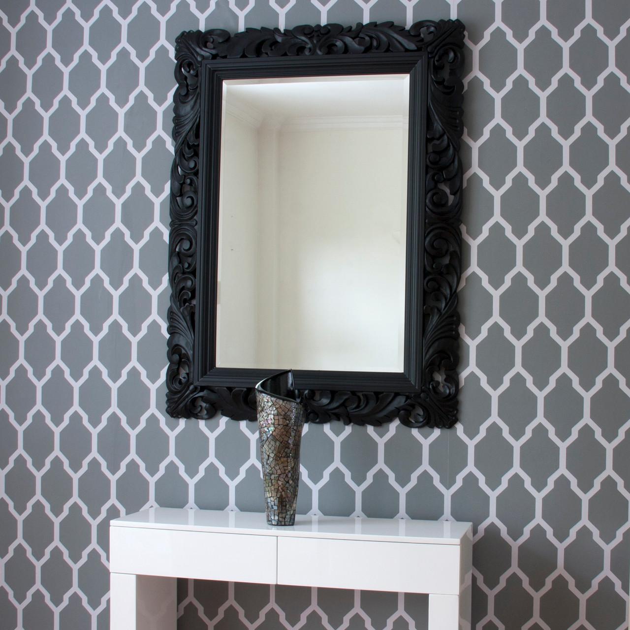 Carved Wood Black Framed Mirror