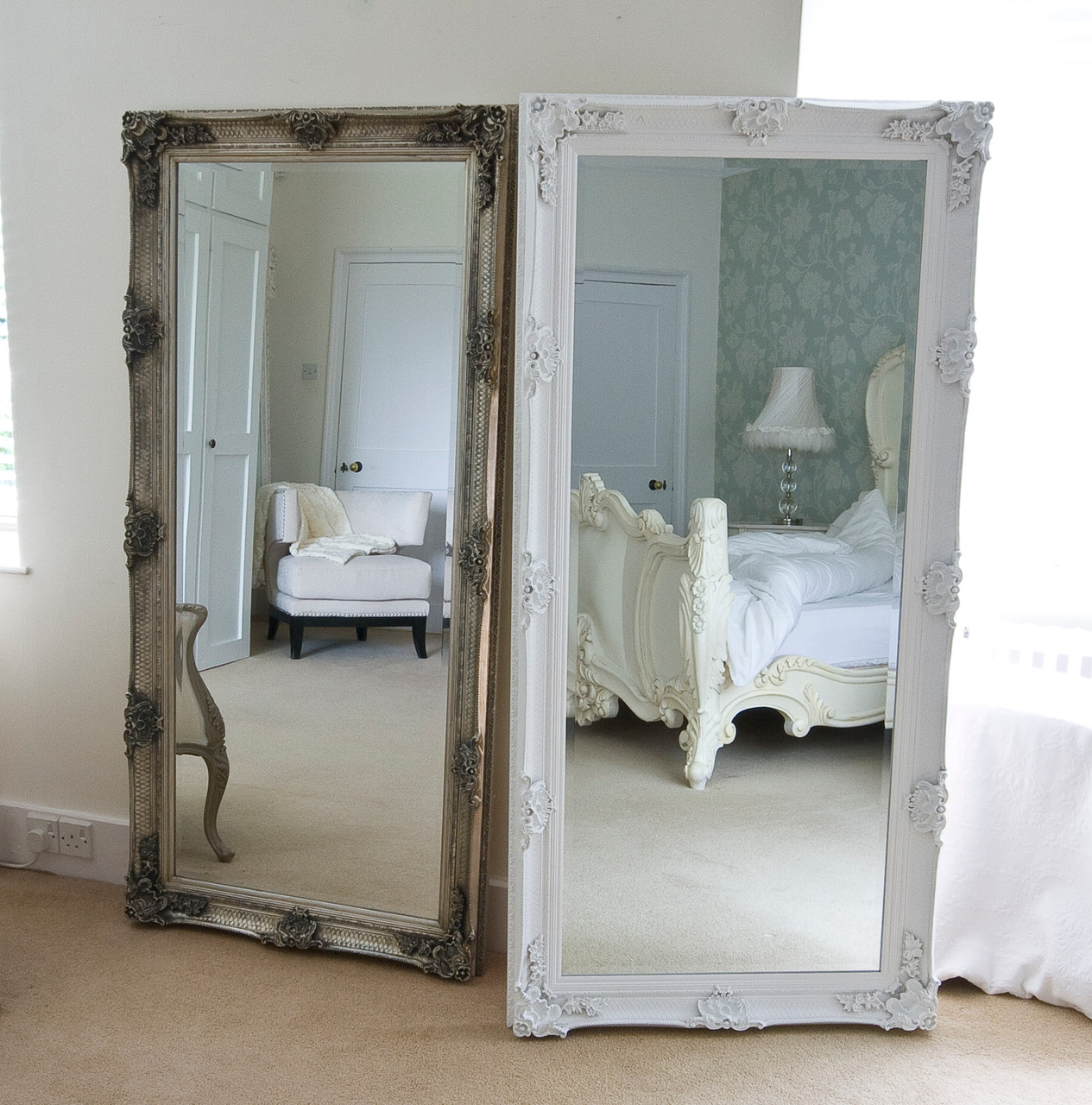 Image of Cream Decorative Full Length Dressing Mirror