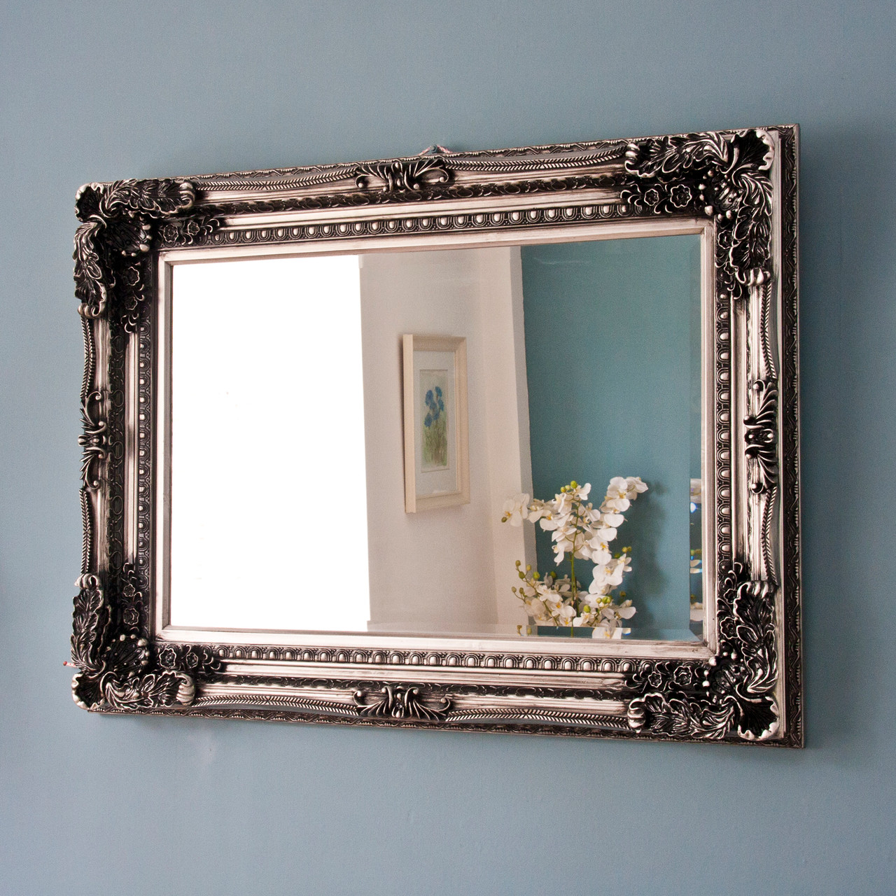 Image of Embellished Dark Silver Design Mirror