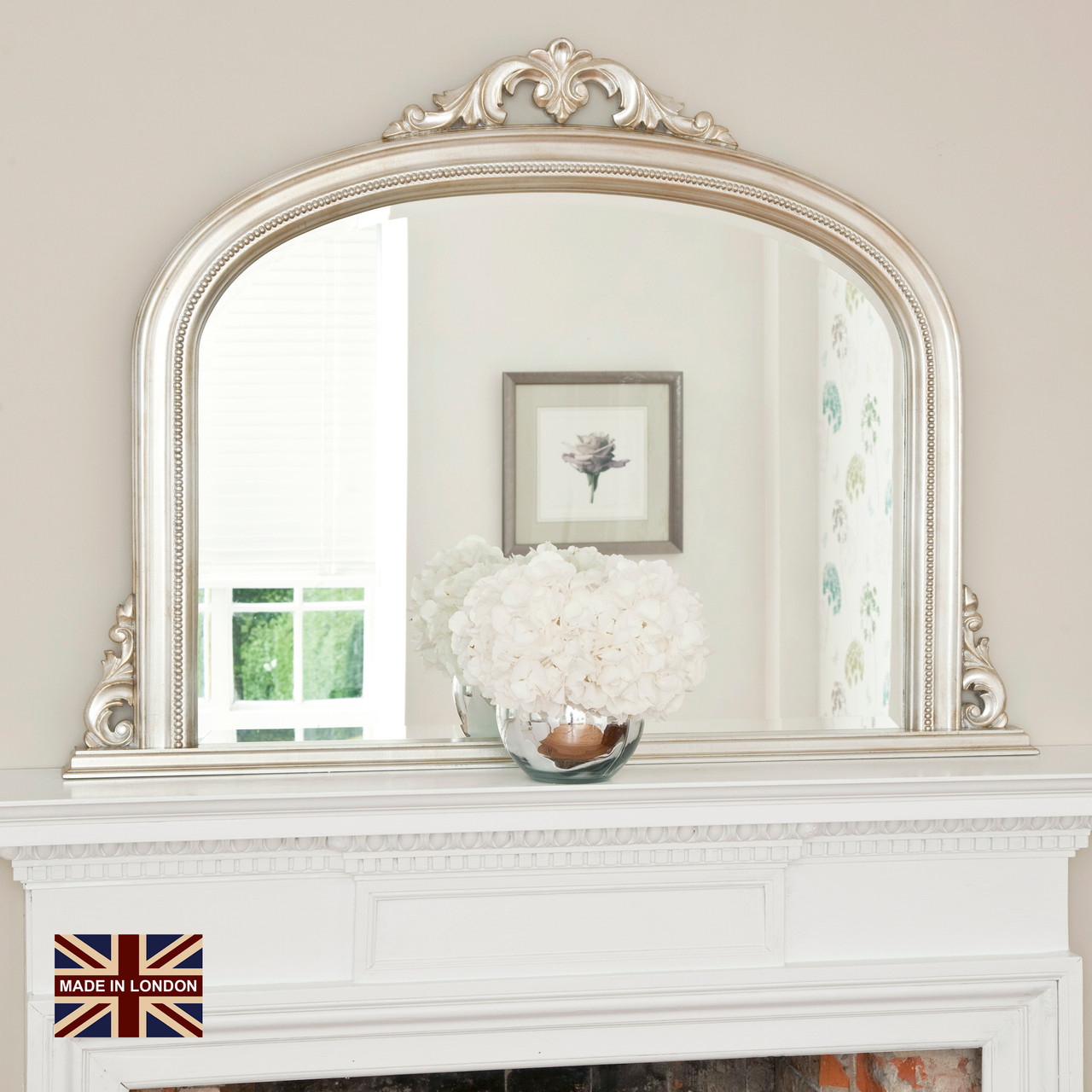 Image of Isabella Antiqued Silver Overmantle Mirror