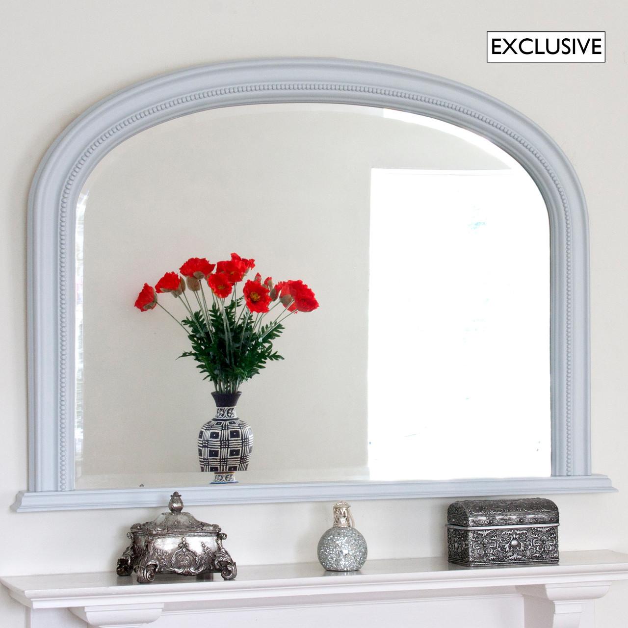 Image of Light Grey Diana Overmantle Mirror