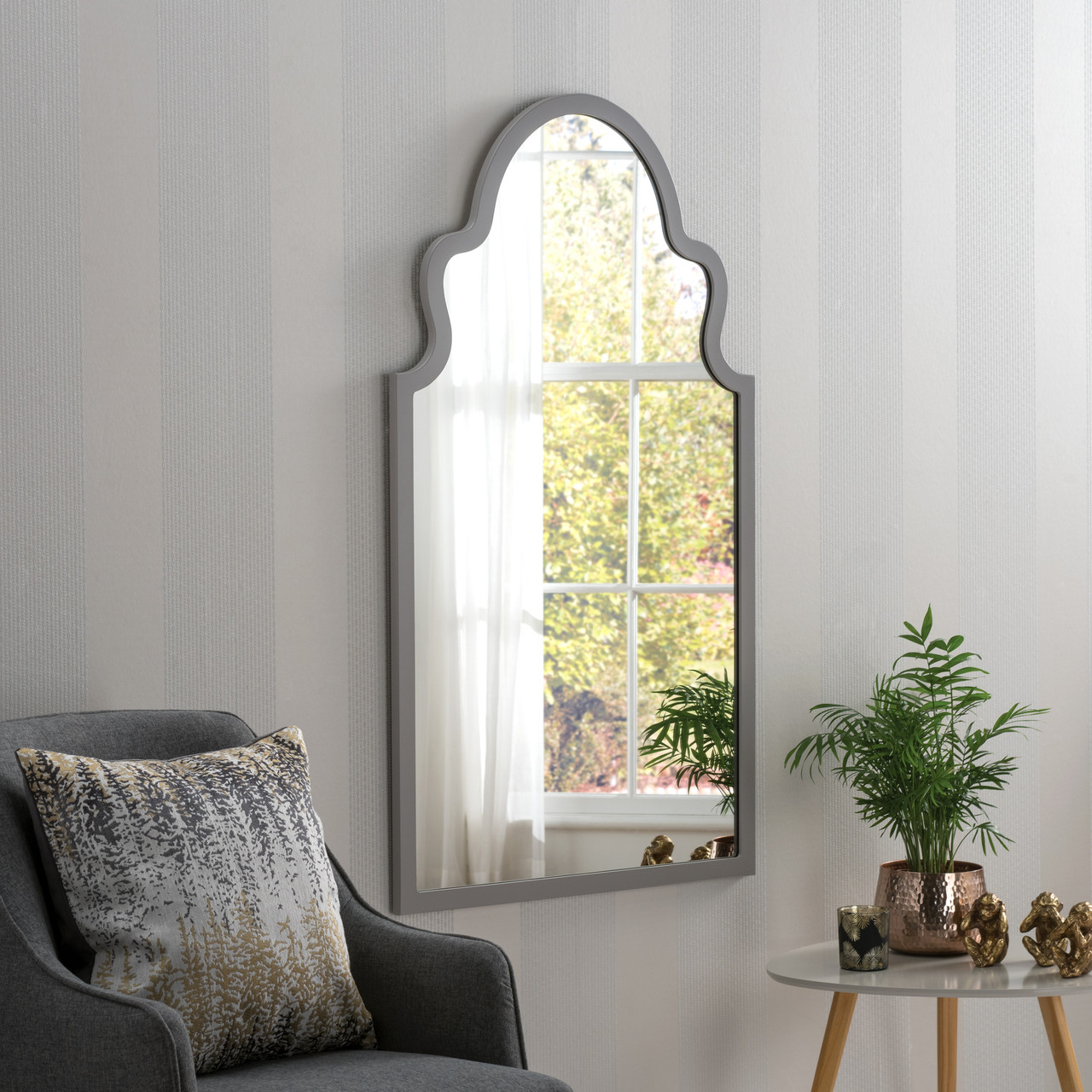 Image of Marrakesh Dark Grey Arched Mirror