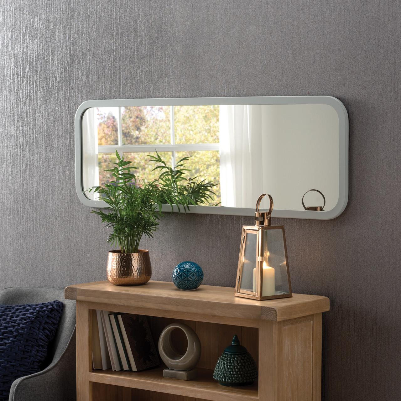 Image of Modern Light Grey Oblong Mirror