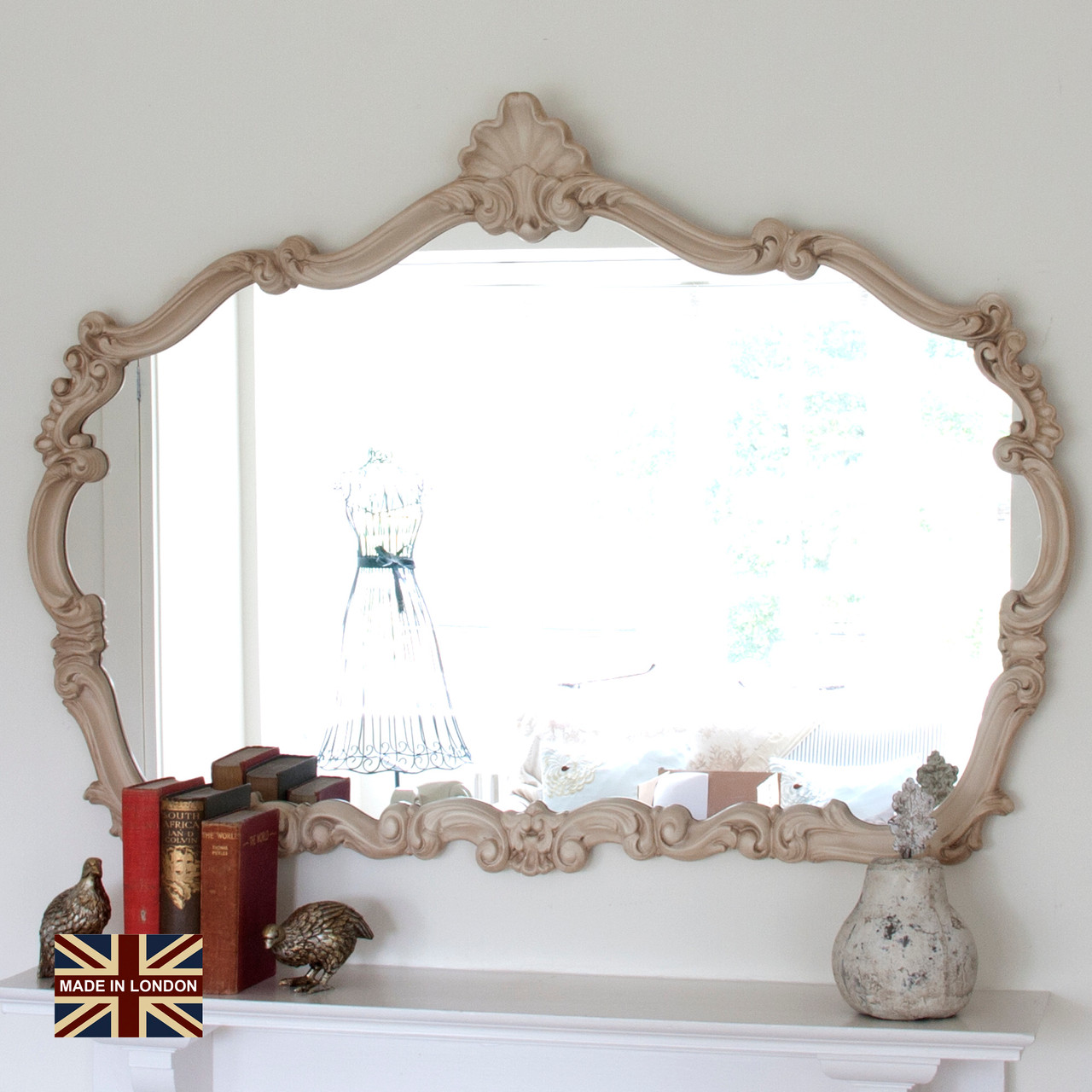 Image of Renaissance Ivory Overmantle Mirror