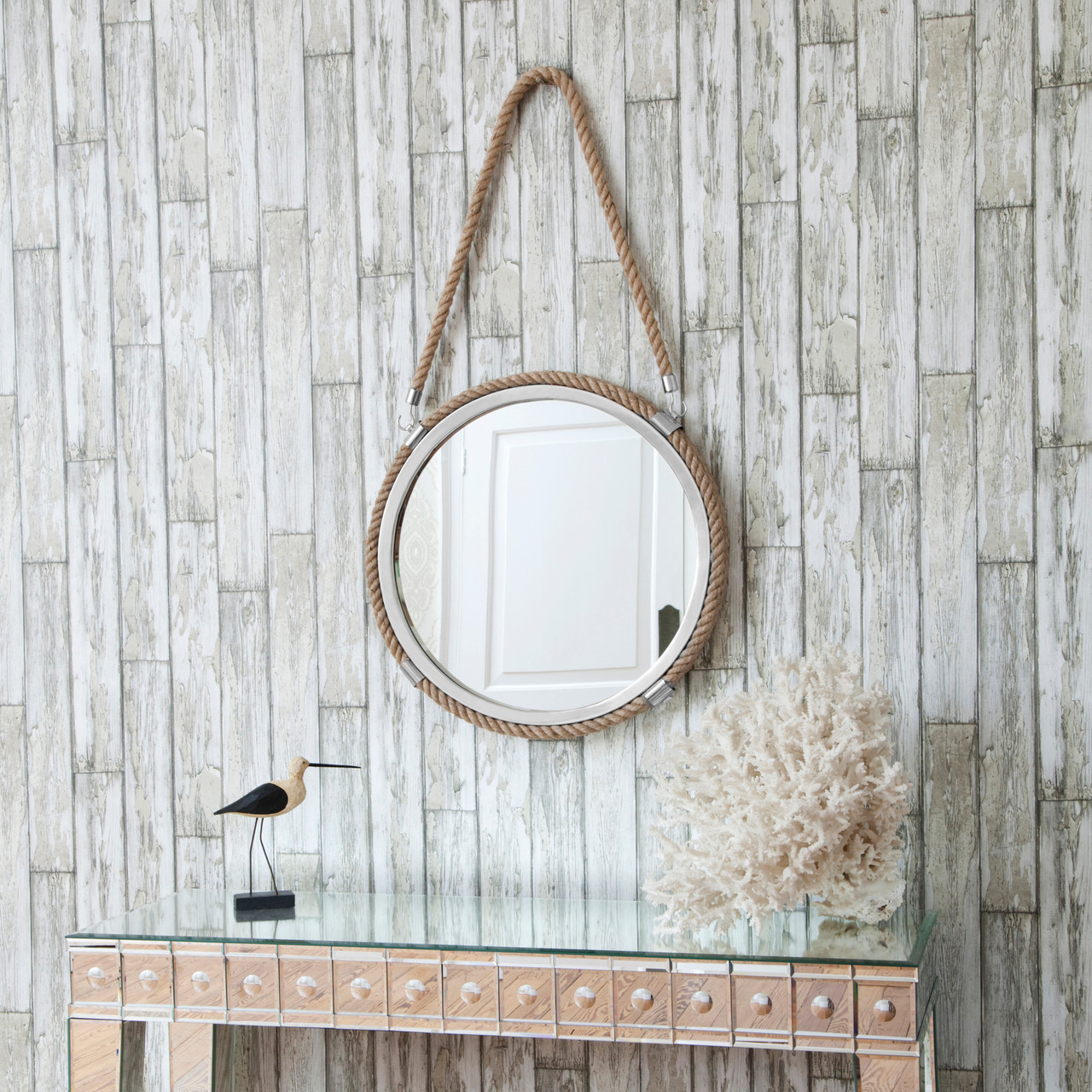 Image of Round Rope Mirror With Rope Hanger