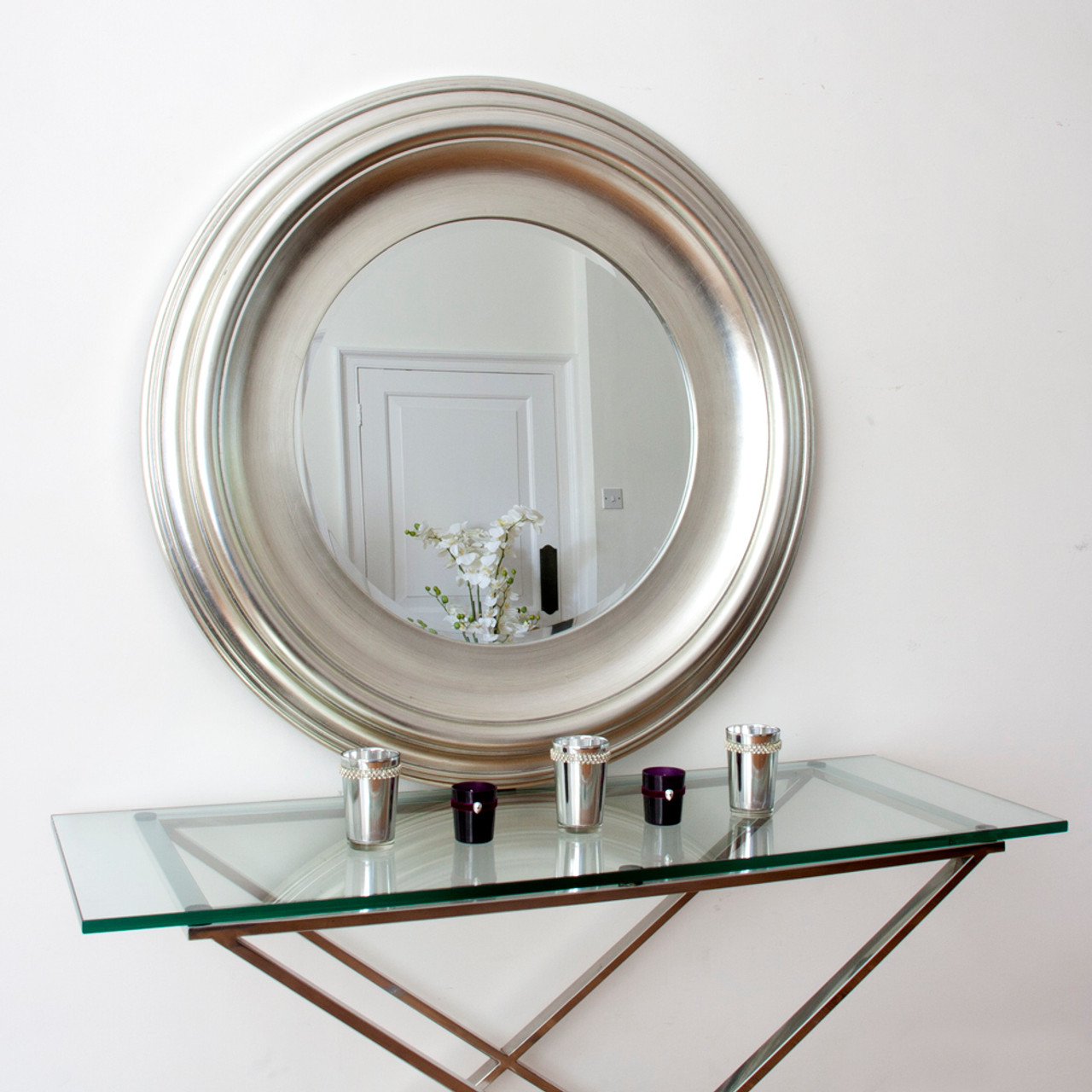 Image of Silver Round Mirror