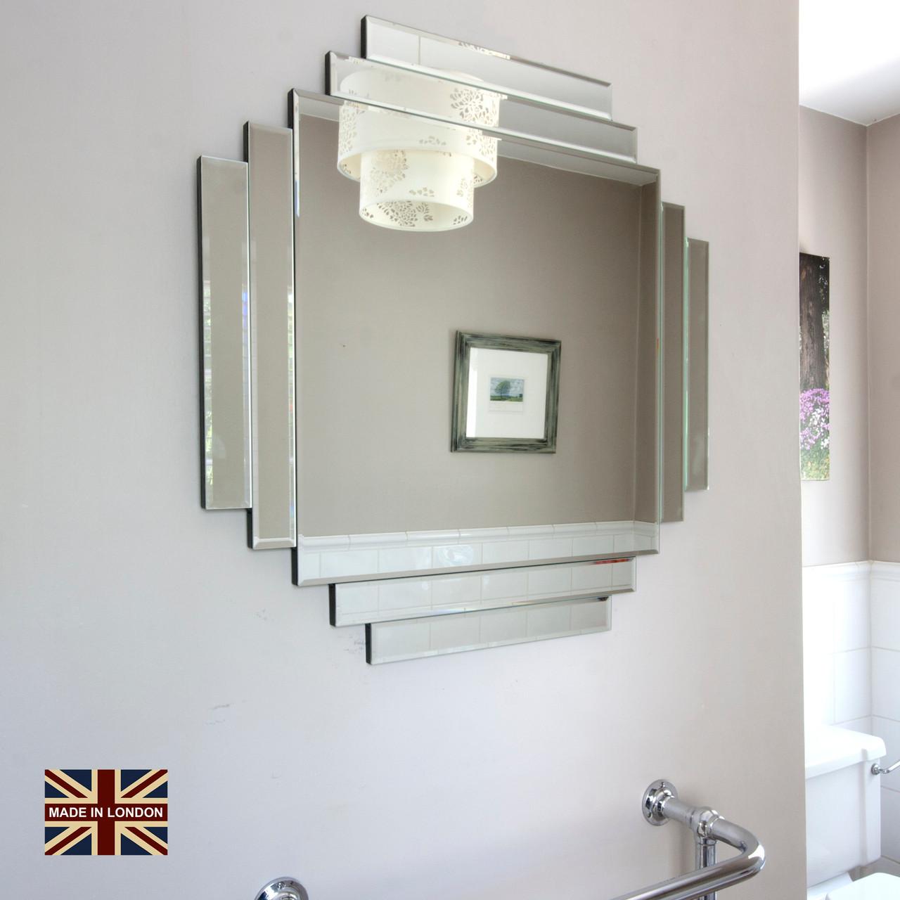 Image of UK Made Art Deco Glass Mirror