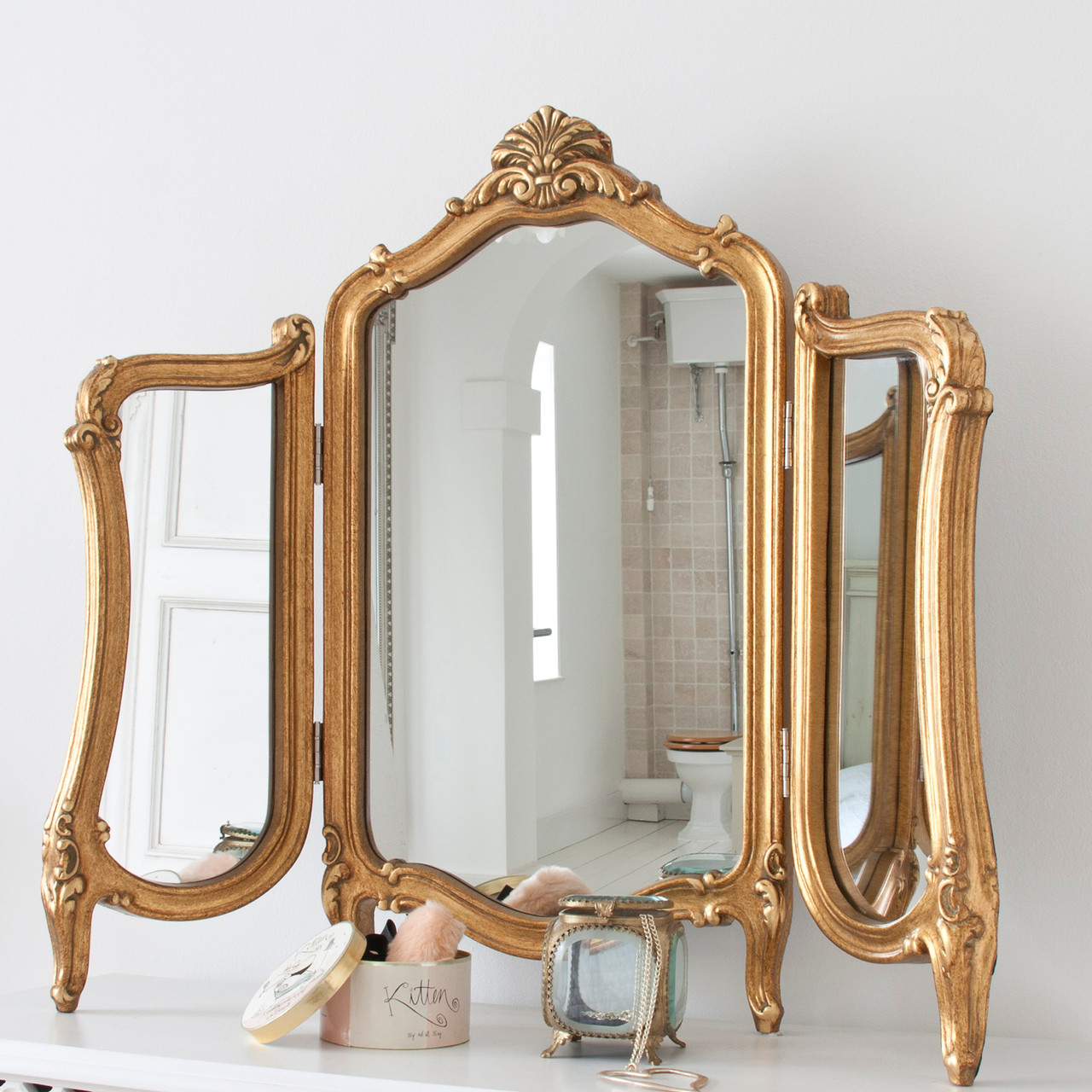 Image of Valentina Gold Dressing Table Mirror