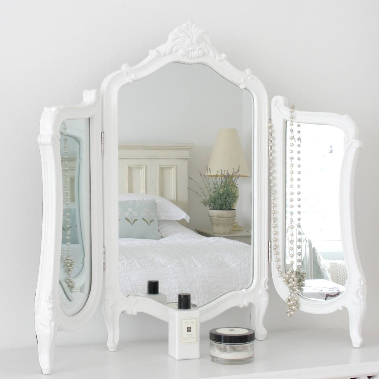 Image of Valentina White Dressing Table Mirror