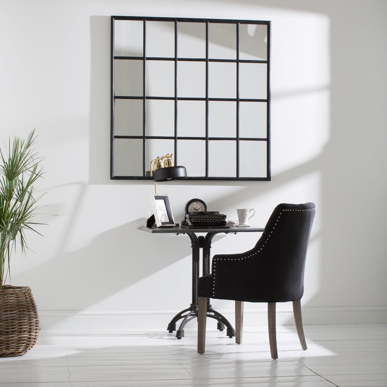 Brookby Black Window Mirror