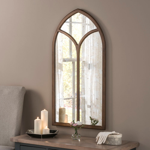 Aged Arched Wooden Window Mirror