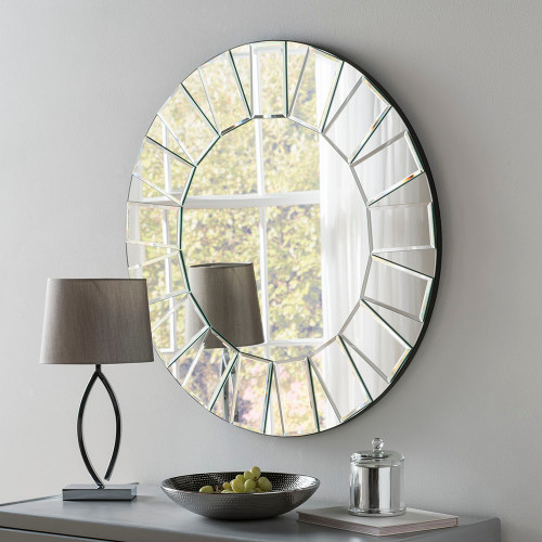 Image of All Glass Round Sunburst Contemporary Mirror
