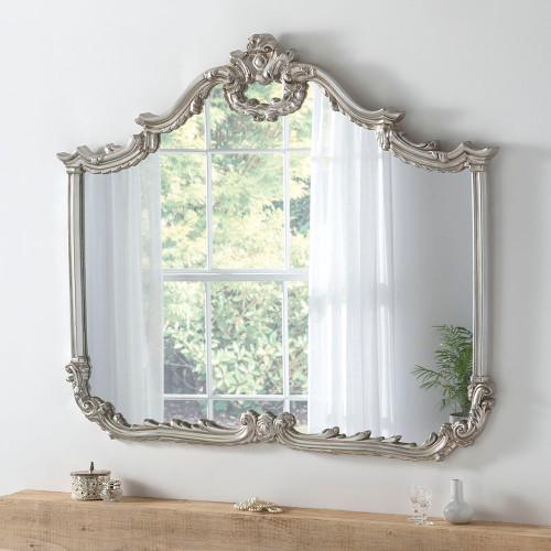 Image of Baroque champagne silver mirror