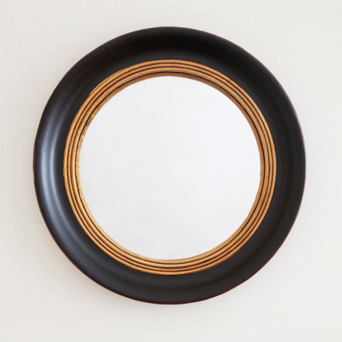 Image of Beatrice Black Gold Round Mirror