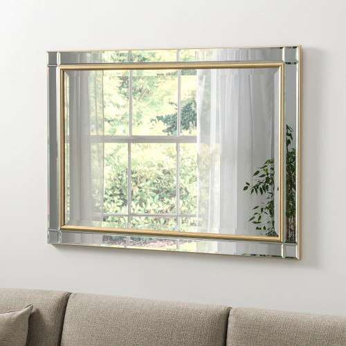 Image of Bevelled gold framed mirror