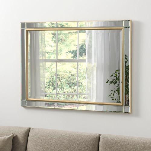 Image of Bevelled gold framed mirror