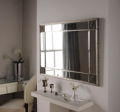 Image of distressed silver framed mirror
