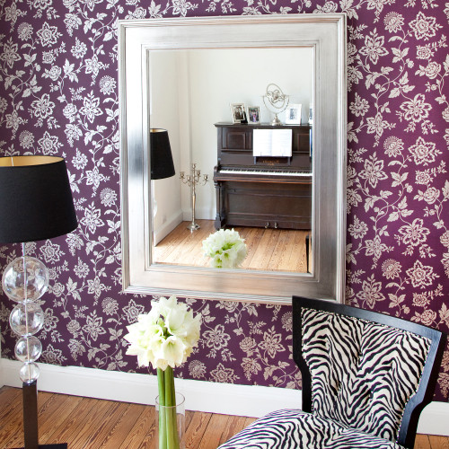 Image of Black Silver Wide Framed Mirror