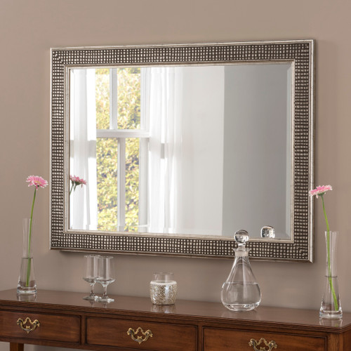 Image of Brock Silver Rectangular Modern Mirror