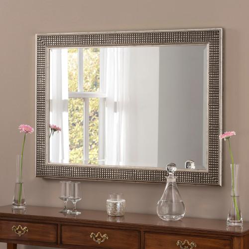 Image of Brock Silver Rectangular Modern Mirror