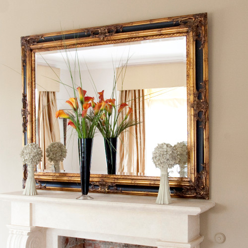 Image of Classic Ornate Black and Gold Mirror