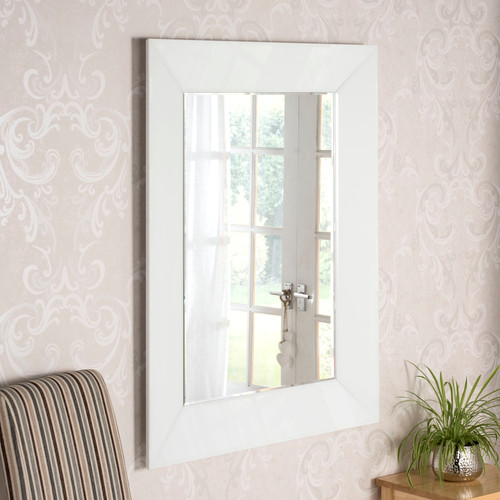 Image of Deep framed white mirror