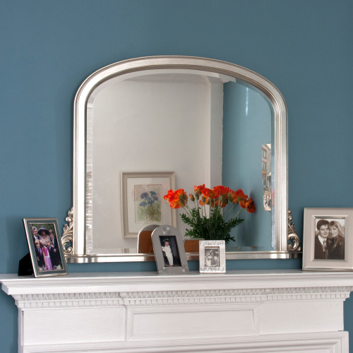 Image of Delphine Silver Overmantle Mirror