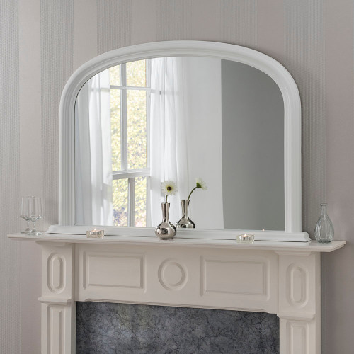 Image of arched white overmantle mirror
