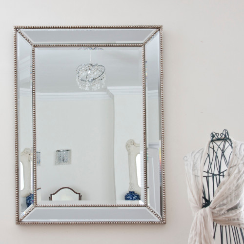 Image of Elisia Champagne Silver Beaded Mirror