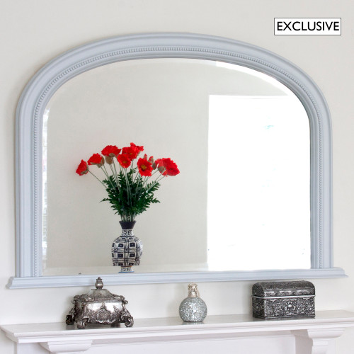 Image of Light Grey Diana Overmantle Mirror