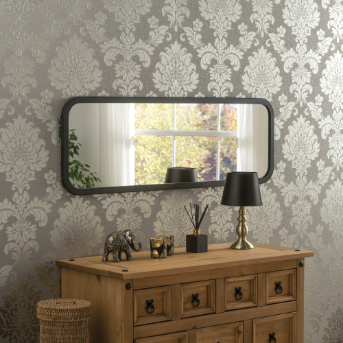 Image of Modern Black Oblong Mirror